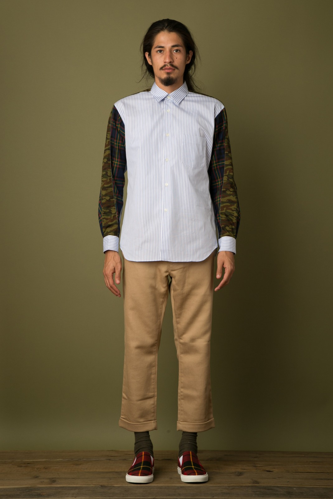 CDG_SHIRT_Mix_Pattern_Stripe_Shirt