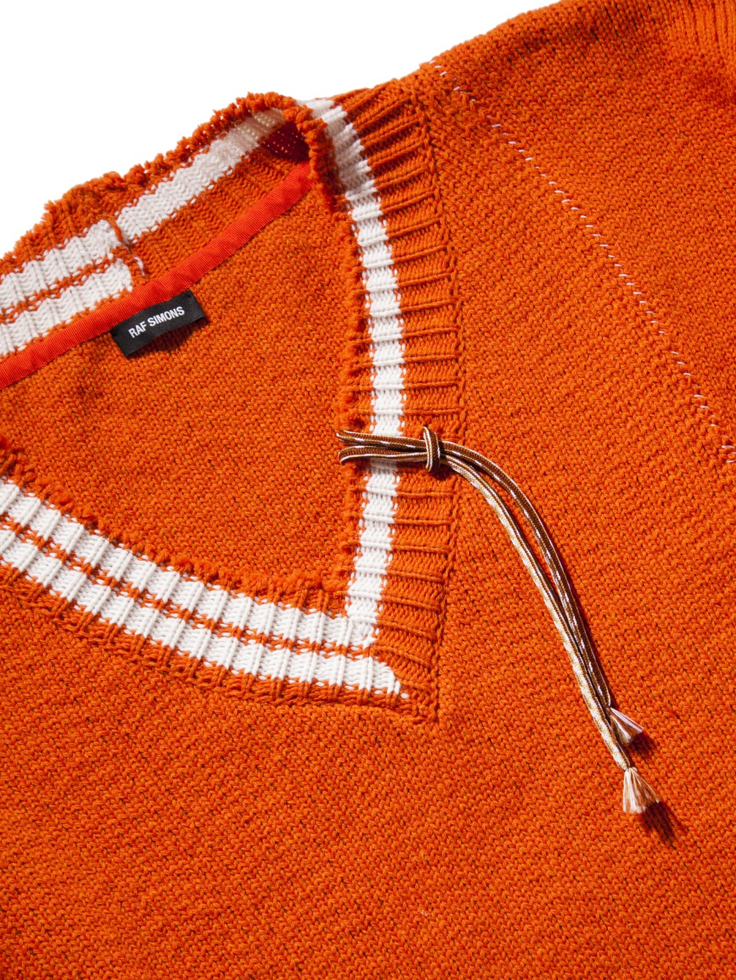 RAF_SIMONS_Extremely_Big_Destroyed_Stripe_V-Neck_Knit_Sweater_Orange_White_-2