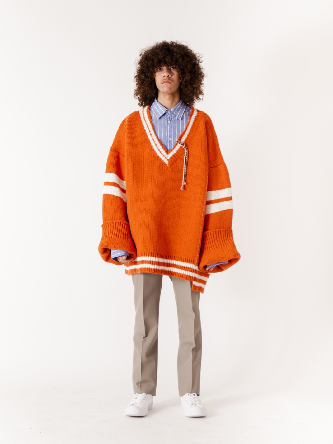 RAF_SIMONS_Extremely_Big_Destroyed_Stripe_V-Neck_Knit_Sweater_Orange_White_x