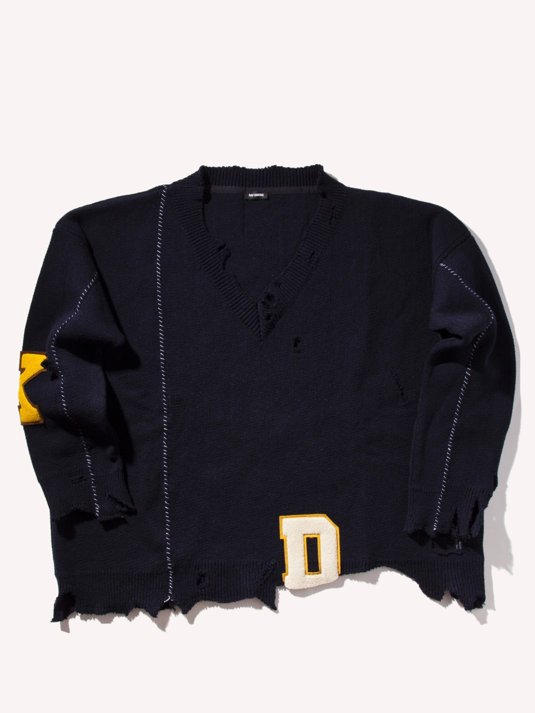 RAF_SIMONS_Oversized_Destroyed_V-Neck_Knit_Sweater_Dark_Navy