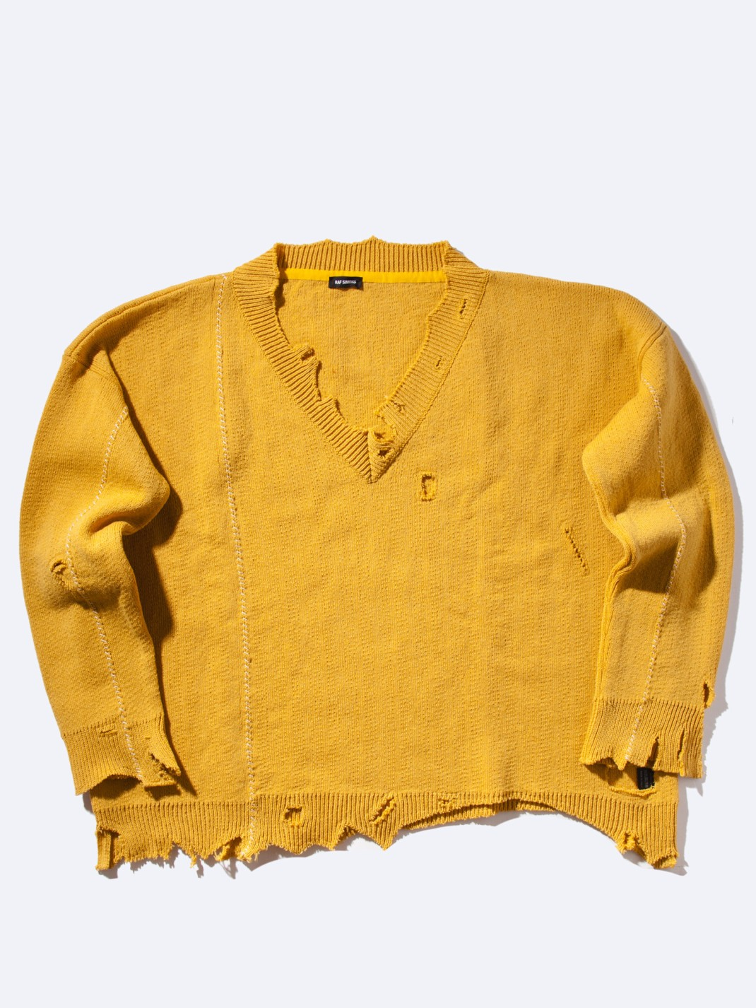 RAF_SIMONS_Oversized_Destroyed_V-Neck_Knit_Sweater_Yellow